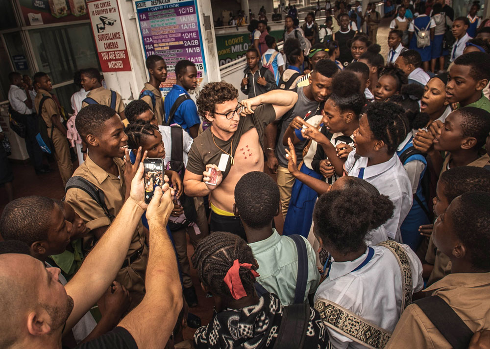 2018- Street magic in Kingston Bus Terminal, Jamaica