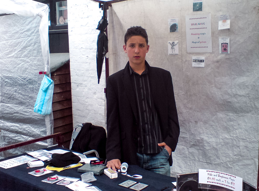 2007 - Julius Dein, 13 years old, at his magic stall in London
